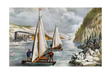 Ice Boat Race on the Hudson River, 19th Century Giclee-trykk av Currier & Ives,