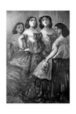 Four Girls, 19th Century Giclee Print by Constantin Guys