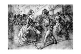 At the Dance, 19th Century Giclee Print by Constantin Guys