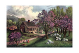 American Homestead in Spring, 1869 Giclee-trykk av Currier & Ives,
