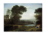 Landscape with the Rest on the Flight into Egypt (Midda), 1661 Giclée-tryk af Claude Lorraine