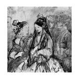 Spanish Ladies, 19th Century Giclee Print by Constantin Guys