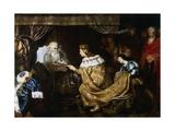 David Presenting the Sceptre to Solomon, Early 17th Century Giclée-Druck von Cornelis de Vos