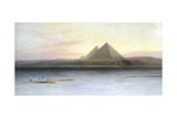 The Pyramids at Gizeh, 19th Century Giclée-tryk af Lear, Edward