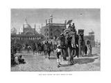 Shah Jehan Leaving the Great Mosque at Delhi, C19th Century Gicléedruk van Edwin Lord Weeks