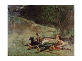 The Rest of a Hunter with Dogs, C1842-1896 Giclee Print by Evariste Vital Luminais