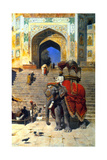 Royal Elephant at the Gateway to the Jami Masjid, Mathura, 19th or Early 20th Century Giclee-trykk av Edwin Lord Weeks