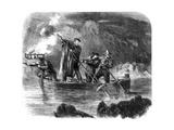 General Garibaldi Spearing Fish by Night Off Caprera, Sardinia, Italy, 1861 Giclée-Druck von Frank Vizetelly