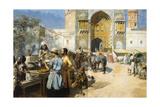 An Open-Air Restaurant, Lahore, C1889 Gicléedruk van Edwin Lord Weeks