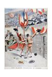 French Sailors Watching a Bull Fight, Xeres, Spain, 1899 Gicléetryck av Eugene Damblans