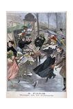 Hurricane on the Boulevards, Paris, 1900 Gicléetryck av Eugene Damblans