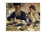 The Author Leo Tolstoy with His Wife in Yasnaya Polyana, 1907 Lámina giclée por Il'ya Repin