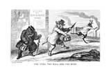 The Stag, the Bull, and the Bear, 19th Century Lámina giclée por George Cruikshank