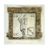 Effigy of Guy, Earl of Warwick, on the Wall of a House in Warwick Lane, City of London, C1820 Giclee Print by Frederick Nash