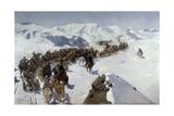 Count Argutinsky Crossing the Caucasian Range, 1892 Giclee Print by Franz Roubaud