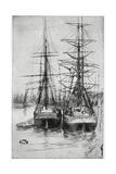 Two Ships, 19th Century Reproduction procédé giclée par James Abbott McNeill Whistler