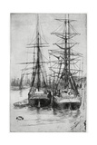 Two Ships, 19th Century Gicléedruk van James Abbott McNeill Whistler