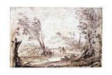 Landscape, 17th Century Lámina giclée por  Guercino