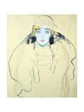 Woman's Head (Frauenkopf), 1917 Impressão giclée por Gustav Klimt
