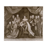 Edward VI Signing a Charter Giving Bridewell to the City of London for a Workhouse, 1552 Giclée-Druck von George Vertue