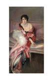 Madame Juillard' in Red, 1912 Giclée-tryk af Giovanni Boldini