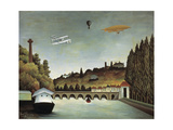View of the Sévres Bridge and the Hills of Clamart, Saint-Cloud and Bellevue, 1908 Giclee Print by Henri Rousseau