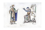 King and Knight, Late 12th Century Giclee Print by Henry Shaw