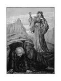 Morgan Le Fay Casts Spell on Merlin Giclee Print by Henry Ryland
