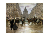 Boulevard Saint-Michel, Late 19th or Early 20th Century Giclee Print by Jean Francois Raffaelli