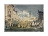 Bartholomew Fair, West Smithfield, City of London, 1813 Giclée-tryk af John Nixon