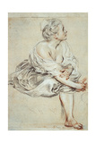 Woman Sitting and Turned Towards the Right, C1716 Giclée-tryk af Jean-Antoine Watteau