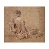 Study of a Woman Seen from the Back, 1716-1718 Giclée-tryk af Jean-Antoine Watteau