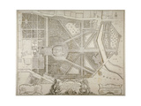 Plan of Kensington Palace and Gardens, London, 1736 Giclee Print by John Rocque