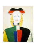 A Girl with a Comb, 1932-1933 Giclée-tryk af Kazimir Malevich