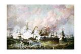 Naval Battle Between the Austrian and Italian Fleets, 1866 Gicléedruk van Josef Karl Berthold Puttner