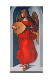 An Angel in Red with a Lute, 1490-1499 Giclée-tryk af Leonardo da Vinci,