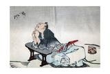 A Philosopher Watching a Pair of Butterflies, 1814-1819 Impressão giclée por Katsushika Hokusai