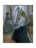 In the Studio, Anna Ancher, the Artist's Wife Painting Gicléetryck av Michael Peter Ancher