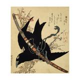 The Little Raven. Minamoto Clan Sword, C1823 Giclée-Druck von Katsushika Hokusai
