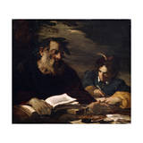 Homer Dictating His Poems, 17th Century Giclée-tryk af Pier Francesco Mola