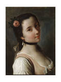A Girl with a Rose, Mid 18th Century Giclee Print by Pietro Rotari