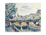 Bank of the Seine Near the Pont Des Arts with a View of the Louvre, Early 20th Century Giclee Print by Paul Signac