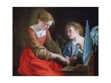 St Cecilia and an Angel, C1617-1618 and C1621-1627 Lámina giclée por Orazio Gentileschi