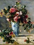 Roses and Jasmine in a Delft Vase, 1880-1881 Giclée-tryk af Pierre-Auguste Renoir