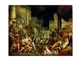 Midas' Feast in Honour of Bacchus and Silenus'. C.16th Century Giclée-Druck von Lucas van Valckenborch