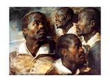 Studies of the Head of a Negro, 17th Century Giclée-Premiumdruck von Peter Paul Rubens