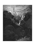 The Archangel Michael and His Angels Fighting the Dragon, 1865-1866 Giclee-trykk av Gustave Doré