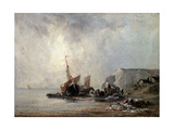 Boats at the Normandy Shore, 1823 Giclee Print by Richard Parkes Bonington