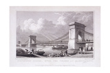 Hammersmith Bridge with Water Vessels on the River Thames, Hammersmith, London, 1828 Giclee Print by Thomas Higham