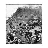 92nd Gordon Highlanders in Retreat, Battle of Majuba Hill, 1st Boer War, 26-27 February 1881 Reproduction procédé giclée par Richard Caton Woodville II